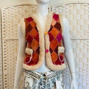 VTG. natural hand dyed shearling Harlequin vest.